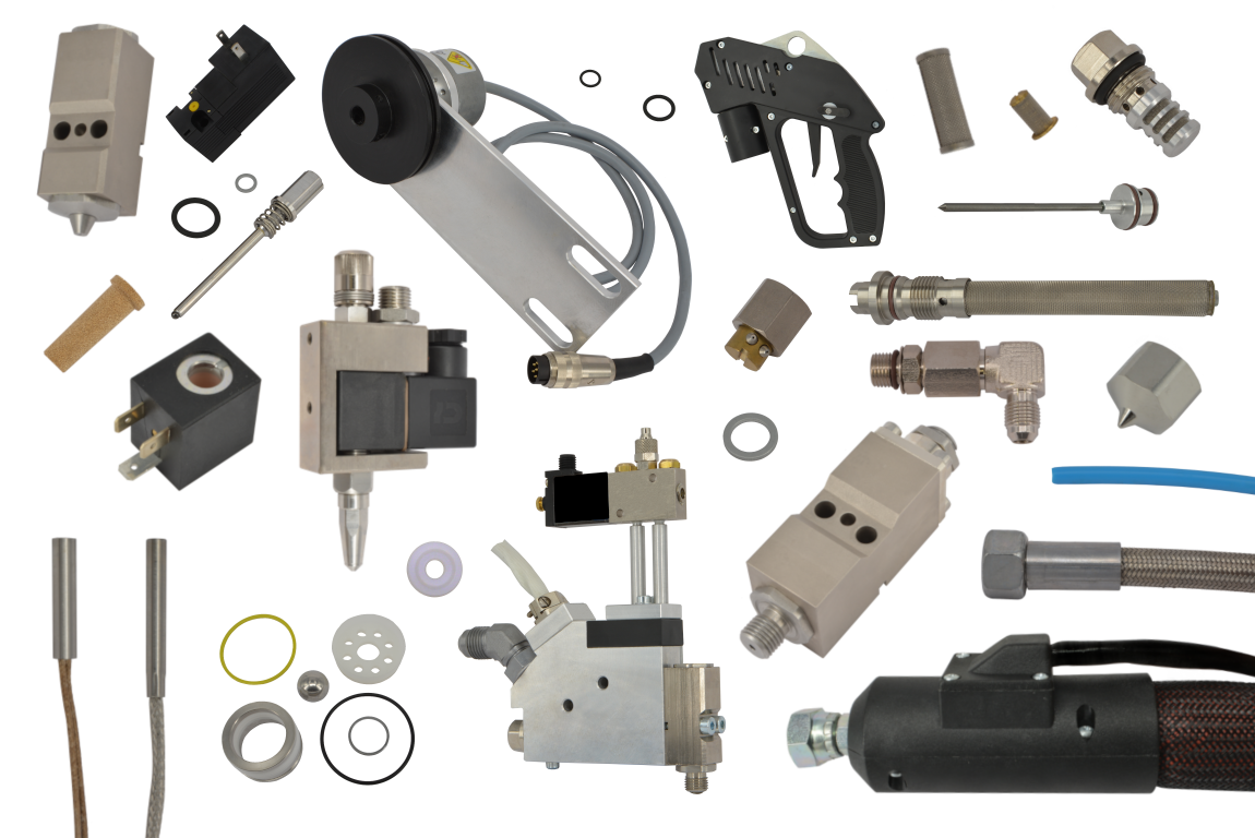 Various selected spare parts from the range of Reuther-Systems adhesive systems