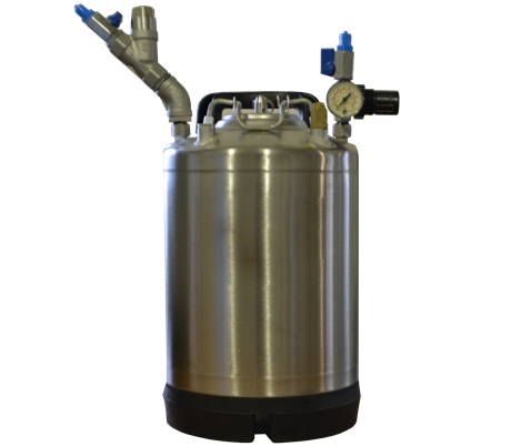 Pressure tank for cold glue application systems